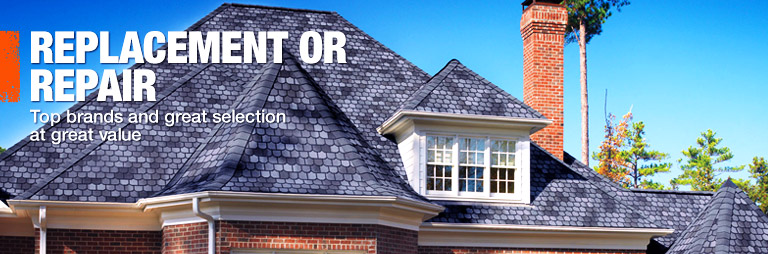 Shop roofing shingles and gutters.