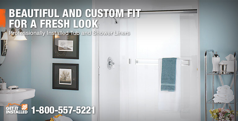 BEAUTIFUL AND CUSTOM FIT FOR A FRESH LOOK - Professionally Installed Tub and Shower Liners - GET IT INSTALLED 1-800-557-5221