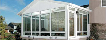Exterior view of white sunroom