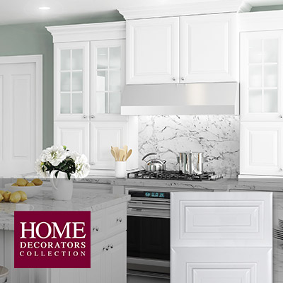 White kitchen cabinets at the home depot for Model kitchens with white cabinets