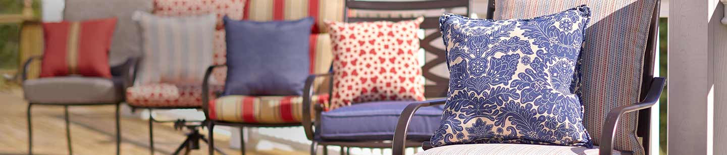 Perk up your patio - Find hundreds of colorful outdoor cushions and pillows