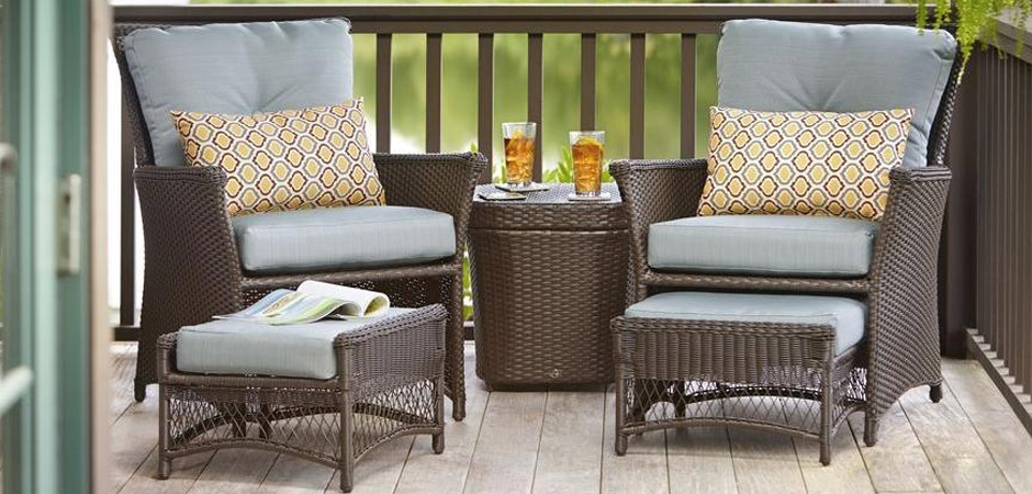 white chairs sets outdoor furniture for small spaces | Small Space Patio Collections at The Home Depot