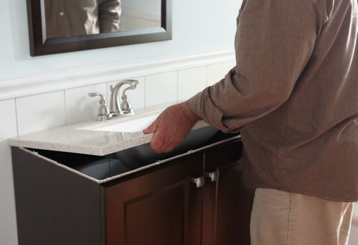 How to install a bathroom vanity at the home depot at the - How to replace a bathroom vanity ...