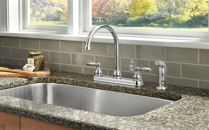 Find the ideal kitchen faucet at the home depot for Water coming back up kitchen sink