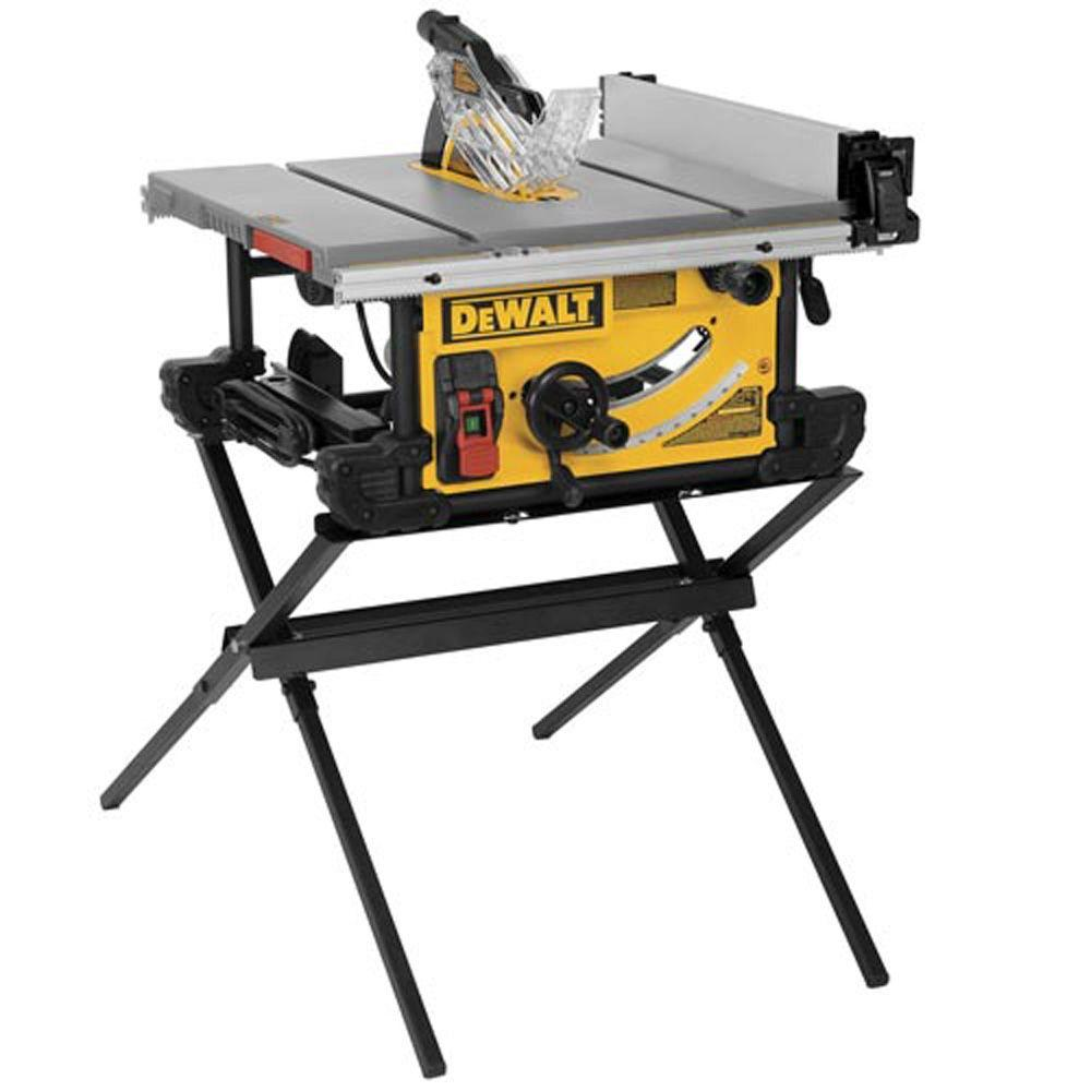 Dewalt 15 Amp 10 In Job Site Table Saw With Scissor Stand Dwe7490x The Home Depot