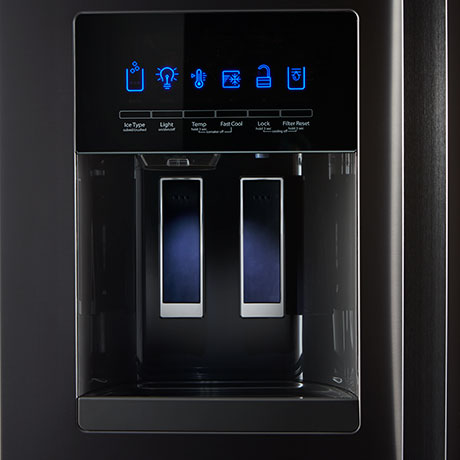 Fingerprint-Resistant Black Stainless Steel external water dispenser with fully lit control panel.
