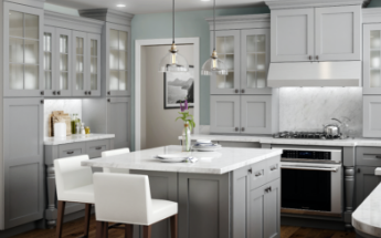 Modern gray semi-custom kitchen cabinets