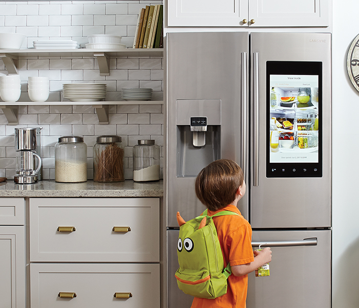 Stainless Steel Samsung Family Hub Refrigerators white & gold kitchen