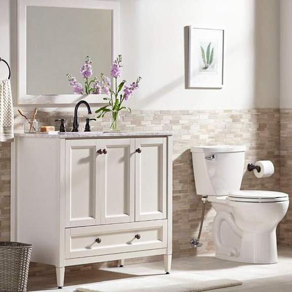 neutral and traditionally decorated bathroom
