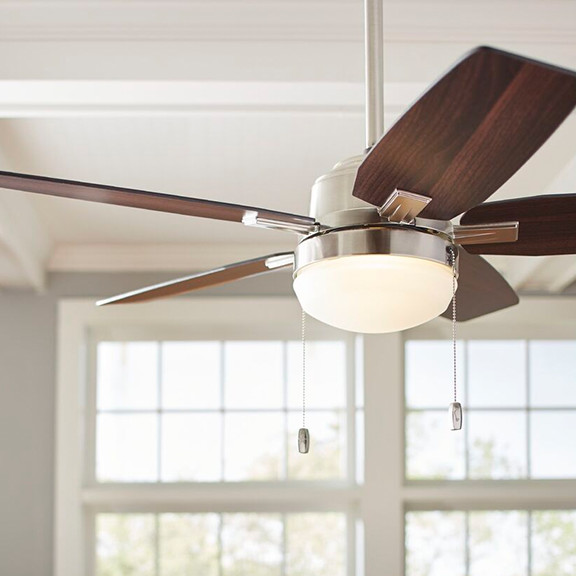 traditional wood ceiling fan in a living room