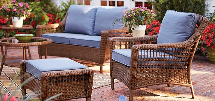 blue and brown outdoor patio living set