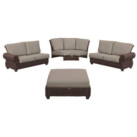 Good Hampton Bay Mill Valley 4 Piece Patio Sectional Set With Parchment Cushions