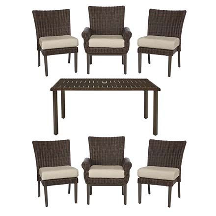 Beautiful Hampton Bay Mill Valley 7 Piece Fully Woven Patio Dining Set With Parchment  Cushions