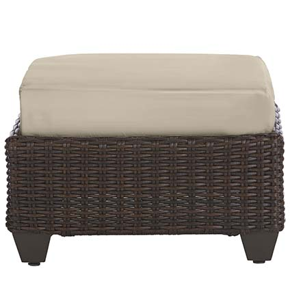 Captivating Hampton Bay Mill Valley Fully Woven Patio Ottoman With Parchment Cushion