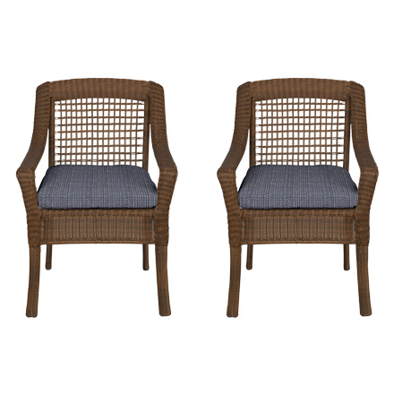 Hampton Bay Spring Haven Brown All Weather Wicker Patio Dining Chair With  Sky Blue Cushion (2 Pack)