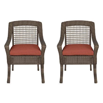 Hampton Bay Spring Haven Grey Wicker Patio Dining Chairs With Cushion  Insert (2 Pack) (Slipcovers Sold Separately)