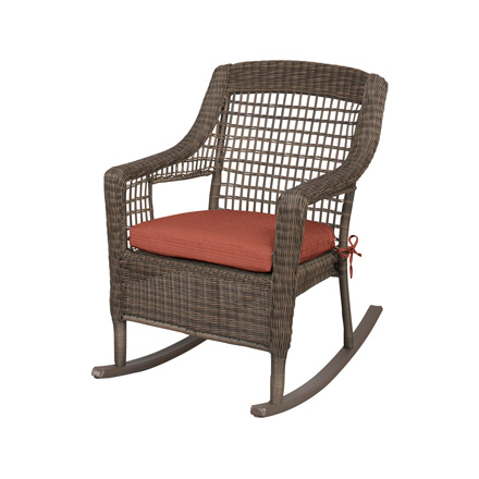 Hampton Bay Spring Haven Grey Wicker Outdoor Patio Rocking Chair With  Cushion Insert (Slipcovers Sold Separately)