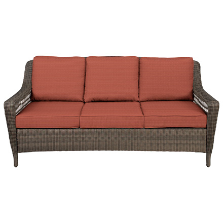 Hampton Bay Spring Haven Grey Wicker Outdoor Patio Sofa With Cushion Insert  (Slipcovers Sold Separately)