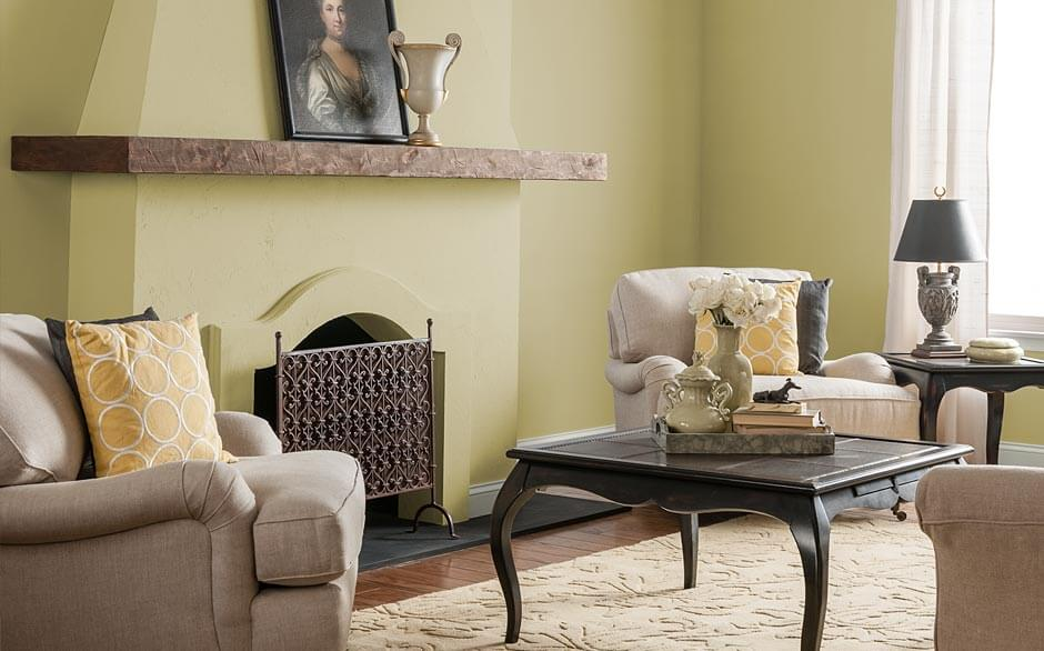 Cyprus Grass & Living Room - Paint Color Selector - The Home Depot
