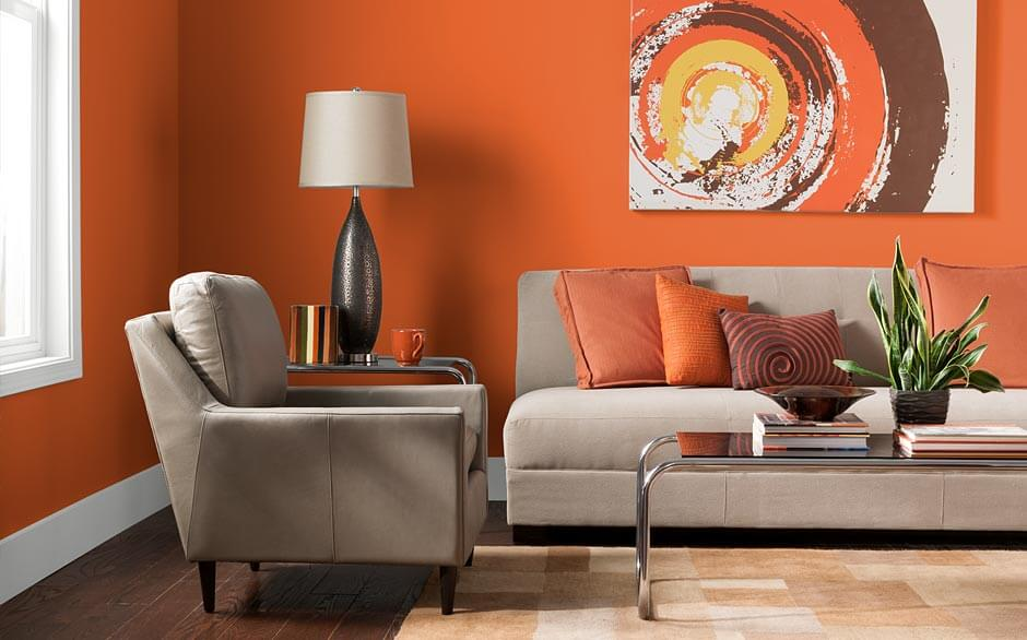 Fresh Tangerines & Living Room - Paint Color Selector - The Home Depot